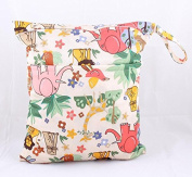 Moshine Portable Baby Cloth Nappy Bag Print Patterns Waterproof Soft Storage Bag Double Zipperwet Bags