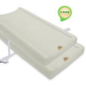 BlueSnail Bamboo Viscose Changing Pad Cover 2 Pack with Buckle Strap Holes Infant Waterproof Breathable Dark Colour