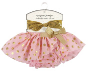 Stephan Baby Birthday Girl Gold Shimmer Dot Nappy Cover Tutu and Lame Headband Set