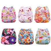 BESTOBABY Baby Pocket Cloth Nappies 6 pcs with 6 Microfiber Inserts All in One Size