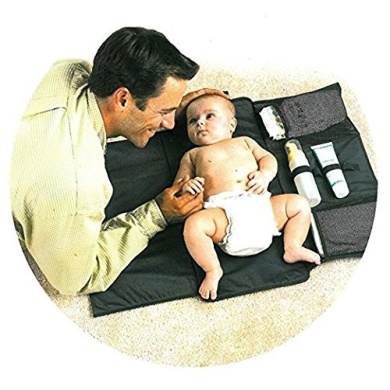 Artempo Nappy Changing Pad Clutch, Portable Nappy Changing Mat for Baby, Easy to Use for Camping, Travel, Shopping (Black)