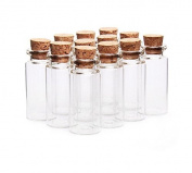 10Pcs/10ML Empty Sample Glass Bottles Jars Vials Case Container with Cork Stoppers for Message Weddings Wish Jewellery Party Favours,Transparent