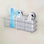 Wall Mounted Bath Shelf Stainless Steel Shower Caddy Storage Basket with Strong Suction Cups
