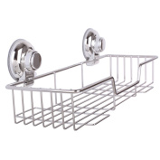 Homeself Kitchen Bathroom Rustproof Stainless Steel Rectangle Shower Storage Suction Cups,Super Strong Suction Cup Hook Shower Caddies Wall Shelves