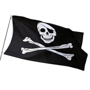 HIKS® Jolly Roger Skull and Crossbones 1.5m x 0.9m Pirate Flag ideal for Climbing Frames, Garden Dens, Forts and Ships