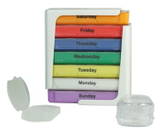 Stackable Weekly Pill Organiser Box with Pill Holder and Splitter - 7 Day 4 Compartment Organiser for Medications 2, 3 or 4 Times a Day - Cheque Pictures for Size of Compartments