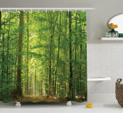 Woodland Decor Shower Curtain Set By Ambesonne, Deciduous Forest in Summertime Foliage Sunlight Romantic Holidays Scenics, Bathroom Accessories, 210cm Extralong