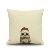 Crazy Cart Little Owl Cotton Linen Art Decorative Pillow covers 1818