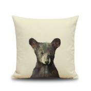 Crazy Cart Little Bear Cotton Linen Decorative Throw Pillow Case Cushion Cover Square 46cm x 46cm