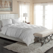 Luxury Silky Cotton Sateen Oversized White Down Comforters- Hypoallergenic - Great for the Master Bedroom Comforter