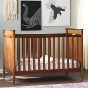 """Melvin 2 in 1 Convertible Crib with 4 Adjustable Mattress Positions Made of Manufactured Wood in Walnut Finish 38.5"""" H x 54.75"""" W x 30.75"""" D in."""