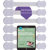 Baby Proof Safety Lock Adjustable Straps and Latch System for Cabinets,Drawers,Toilet Seat and more | No Drilling | 6 Pack | White colour . Bonus 3M Adhesive ,By Shik Active