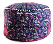 """Indian Peacock Mandala Ottoman Pouffe Cover Round Floor Pillow Ottoman Living Room Large Seating Floor Pillow Cover Ottoman Cover pouffe Cover Boho Hippie By """"Handicraft-Palace"""""""