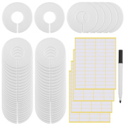 eBoot 55 Pieces Round Clothing Dividers Rack Size Closet Dividers with 224 Pieces Blank White Stickers and Marker Pen