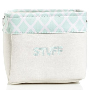 Mint Trellis Canvas Storage Bin | Toy Storage | Laundry Storage | Nursery Room Organiser