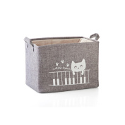 Fieans Fabric Storage Bin Organiser Basket with Handles for Clothes Storage,Toy Organiser-Grey