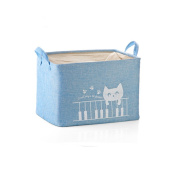 Fieans Fabric Storage Bin Organiser Basket with Handles for Clothes Storage,Toy Organiser-Blue