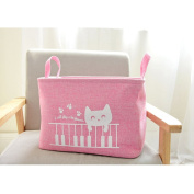 Fieans Fabric Storage Bin Organiser Basket with Handles for Clothes Storage,Toy Organiser-Pink