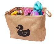 California Home Goods Toy Storage Bin, Playroom Toy Organiser, Shelf Basket for Baby's and Children's Toys, Kids Jute Baskets, Duck