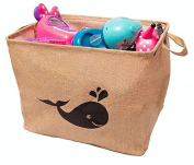 California Home Goods Toy Storage Bin, Playroom Toy Organiser, Shelf Basket for Baby's and Children's Toys, Kids Jute Baskets, Whale