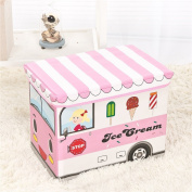 Hever Ice Cream Bus Collapsible Toy Storage Bench/Organiser and Closet Organiser for Kids-Pink