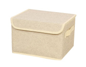Bonaweite Canvas Fabric Storage Boxes Basket with Strong Cotton Rope Handle Beige 25cm x 16cm x 6.18cm