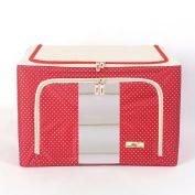 66L Storage Box, Durable Oxford Fabric Foldable Steel Shelf Lidded Storage Box with See-through Window
