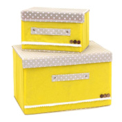 2PCS Laundry Basket Bags Clothes Hamper Storage Foldable Dot Toy Covered Organiser Bag-Yellow