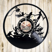 Fantasy Cartoon Vinyl Record Wall Clock - Home Room wall decor - Gift ideas for children, kids - Funny Cartoon Unique Art Design