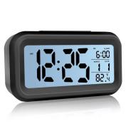 Alarm Clock, Lazaga Large LCD Display Digital Alarm Easy to Set and Watch,Low Light Sensor Technology Soft Night Light Repeating Snooze Month Date & Temperature Display