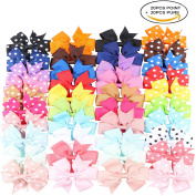 Kissbuty 40PCS 7.9cm Baby Girls Grosgrain Ribbon Boutique Hair Bows Alligator Clips Head Headbands Simple For Teens Babies Toddlers Children
