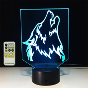 TRADE Acrylic Panel Carvings Three Dimensional Visual Wolf Head Multicolor USB Touch Remote Control Gifts Home Indoor Decorative Lamp for USB Connected or 3-AA Batteries Powered