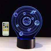 TRADE Three Dimensional Visual Acrylic Panel Art Sculpture 7 Colour Gradient Solar System Planet LED 15 Key Remote Control Touch Switch Night Light Whit USB Cable Or 3 AA Battery Powered