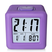ZHPUAT Digital Alarm Clock with Protective Silicon Cover,Smart Back-light and Calendar,Purple