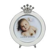 Round Baby Photo Frame 8.9cm x 8.9cm with Crown by Modali Baby USA