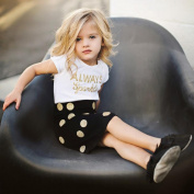 Wensltd Family Matching Clothes Mom & Me Letter Tops T-Shirt+Dot Skirt Outfits Clothes 2 pcs Set