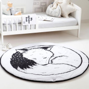 Hiltow Round Rugs Baby Rug Nursery Rugs Cute Fox Design Home Decoration Area Rugs Bedroom/Living Room Carpet Mat Baby Crawling Mats Kids Play Mat Machine Washable Rugs