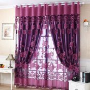 LADEY Jacquard Warp Solid Sheer Window Curtains Grommet Voile Panels for Bedroom