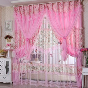 Jacquard Princess 4-Layer Ruffle Lace Embroidered Tulle Window Curtains Valances Panel Sheer for Living Room Bedroom Wedding Home Decor 300cm x 280cm Purple