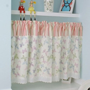 Multi-Butterfly Printed Window Curtain Valance Tier Pair Curtain Sheer Green Checked 140cm x 60cm