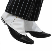Spats, White with Buttons, Halloween Mens Gangster shoe covers, fancy dress