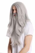 WIG ME UP ® - PW0210-ZA68E Wig & Beard Halloween carnival long smooth grey grey Wizard sorcerer Prophet Old Biker