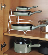 Plate Organiser For Kitchen Cupboard Pans Fry Pan Storage Rack, Lid Holder-White Stand