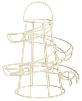 Helter Skelter Egg Rack Metal Kitchen Home Storage Stand Holder with Handle (Cream)