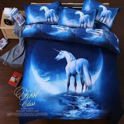 Sandyshow Galaxy Unicorn 2PC Duvet Cover Sets Pegasus Out Space Bedding Twin Size For Boys And Girls, Wrinkle, Fade, Stain Resistant, Hypoallergenic