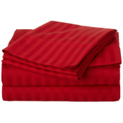 Cal King Striped Sheet Set 300-Thread 100% Premium Long-Staple Combed Cotton Deep Pocket, Red