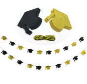 Cualfec Graduation Hat Banners Personalised with Real Glitter for Graduation Party Decorations - 20 Counts.