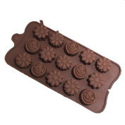Ancaixin Brown Silicone Chocolate Cake Mould Cookie Cutter 15 Flowers Holes For Kitchen Baking
