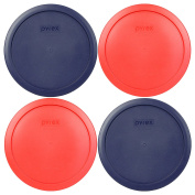 Pyrex 7402-PC 6/7 Cup (2) Red (2) Blue Round Plastic Lids - 4 Pack