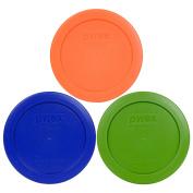 Pyrex 7200-PC 2 Cup Green Orange Cobalt Blue Round Plastic Lids - 3 Pack
